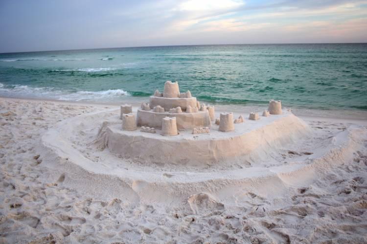 A sandcastle on a Texas beach